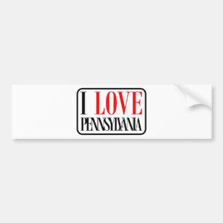 I Love Pennsylvania Design Bumper Sticker