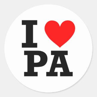I Love Pennsylvania Design Classic Round Sticker