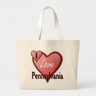 I Love Pennsylvania Large Tote Bag