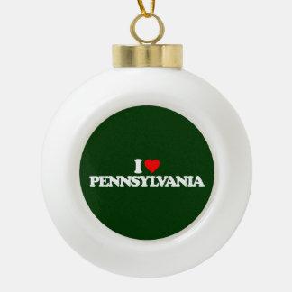 I LOVE PENNSYLVANIA CERAMIC BALL CHRISTMAS ORNAMENT