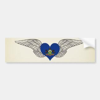 I Love Pennsylvania -wings Car Bumper Sticker