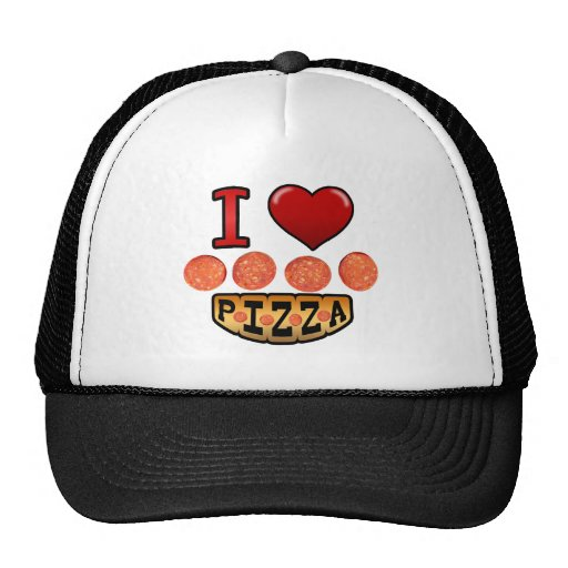 I love pepperoni pizza. mesh hat