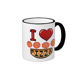 I love pepperoni pizza. ringer coffee mug