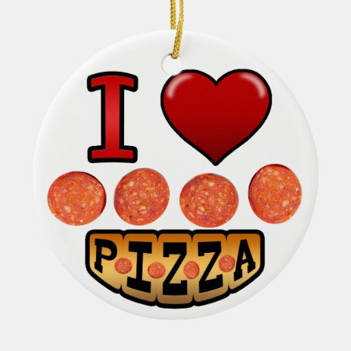 I love pepperoni pizza. Double-Sided ceramic round christmas ornament