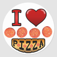 I love pepperoni pizza. round stickers