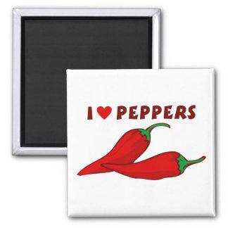I Love Peppers 2 Inch Square Magnet