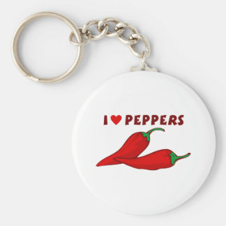 I Love Peppers Basic Round Button Keychain