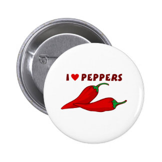 I Love Peppers Pinback Button