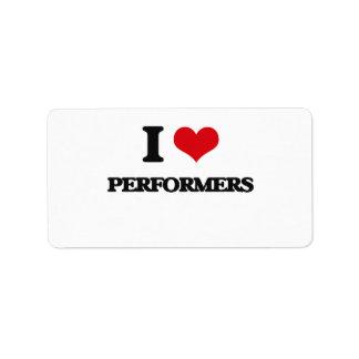 I Love Performers Address Label