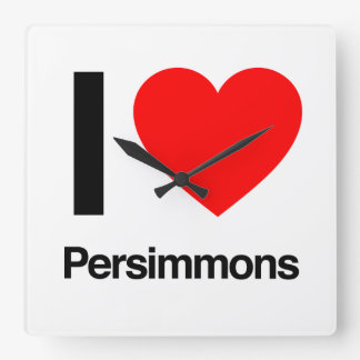 i love persimmons square wall clock