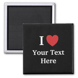 I Love Personalisable Fridge Magnet - Black