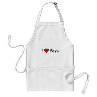 I love Peru in Black and Red Adult Apron