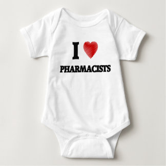 I love Pharmacists (Heart made from words) Baby Bodysuit