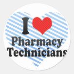 I Love Pharmacy Technicians Classic Round Sticker