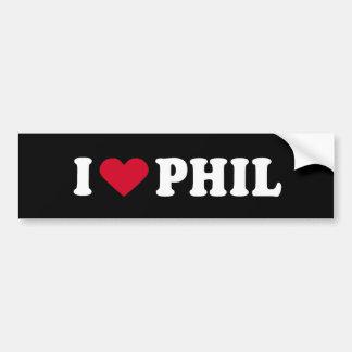 I LOVE PHIL CAR BUMPER STICKER