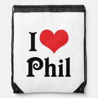 I Love Phil Drawstring Backpack