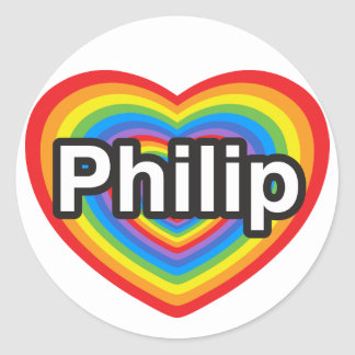 I love Philip. I love you Philip. Heart Classic Round Sticker