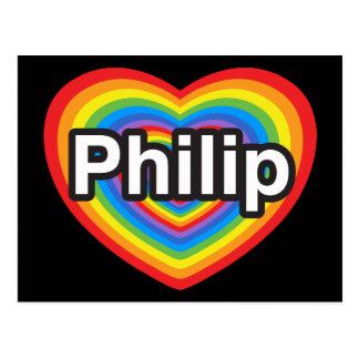 I love Philip. I love you Philip. Heart Postcard