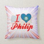I Love Philip, South Dakota Throw Pillows