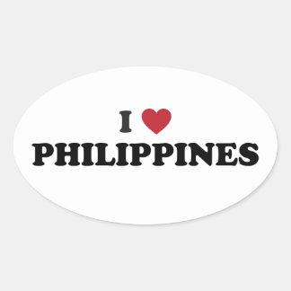 I Love Philippines Oval Sticker
