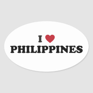 I Love Philippines Oval Sticker