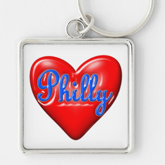 I Love Philly Silver-Colored Square Keychain