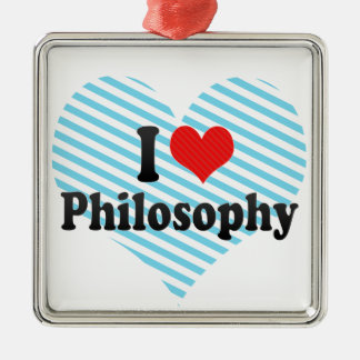 I Love Philosophy Square Metal Christmas Ornament