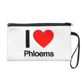 i love phloems wristlet purses