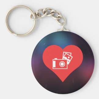I Love Photo Albums Cool Symbol Basic Round Button Keychain