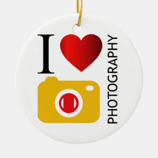 I love photography ceramic ornament