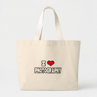 I Love Photography Large Tote Bag