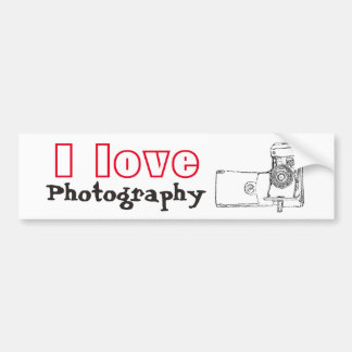 I Love Photography Retro Camera Bumper Sticker
