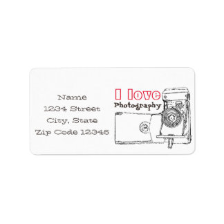 I Love Photography Retro Camera Label