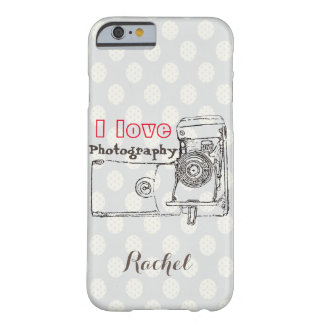 I Love Photography Retro Camera Polka Dot style Barely There iPhone 6 Case