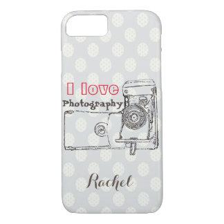 I Love Photography Retro Camera Polka Dot style iPhone 7 Case