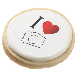 I love photography round shortbread cookie