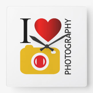 I love photography square wall clock
