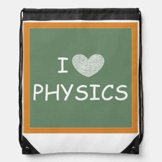 I Love Physics Drawstring Backpack
