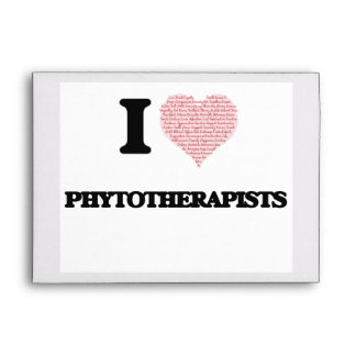 I love Phytotherapists (Heart made from words) Envelopes