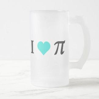 I Love Pi 16 Oz Frosted Glass Beer Mug