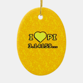 I LOVE PI - YELLOW MODEL CERAMIC ORNAMENT
