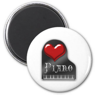 I Love Piano 2 Inch Round Magnet