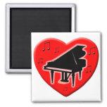 I Love Piano 2 Inch Square Magnet