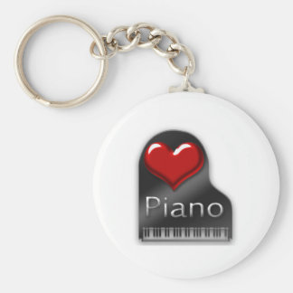 I Love Piano Basic Round Button Keychain