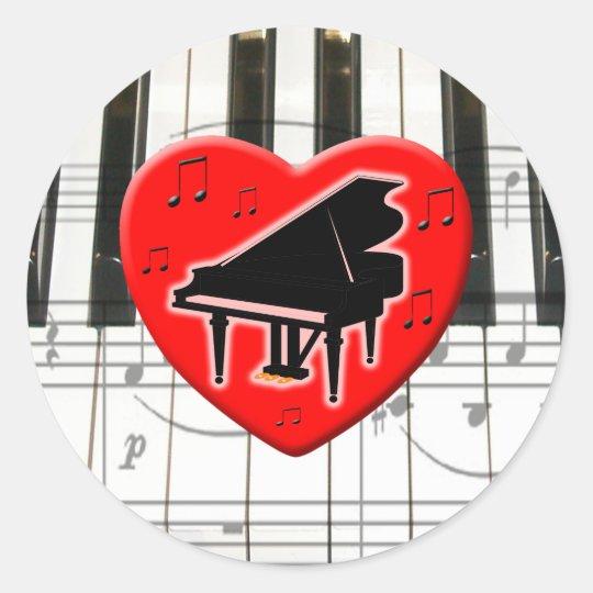 I Love Piano Classic Round Sticker