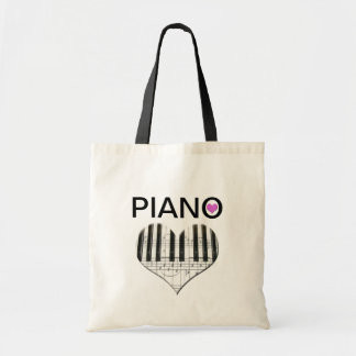 I Love Piano Heart Keyboard and Notes Canvas Bags