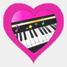 I Love Piano in a Heart Heart Sticker