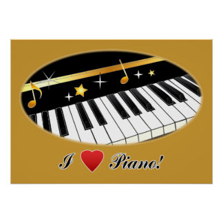 I Love Piano in Gold Poster