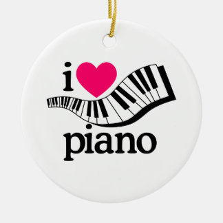 I Love Piano/Keyboard Ceramic Ornament
