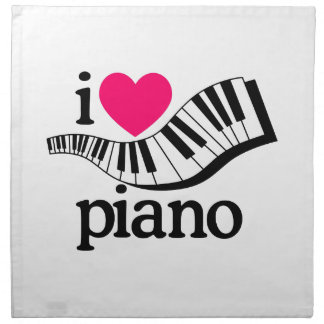 I Love Piano/Keyboard Cloth Napkin
